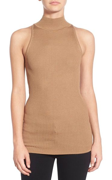 Bailey 44 agave sleeveless turtleneck in camel - Subtle rib knitting adds rich textural dimension to a...
