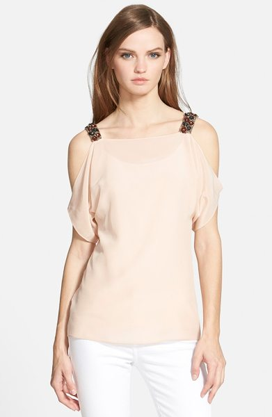 Bailey 44 flame tip cold shoulder silk top in blush - Rich, beaded shoulders create decadent contrast on a...