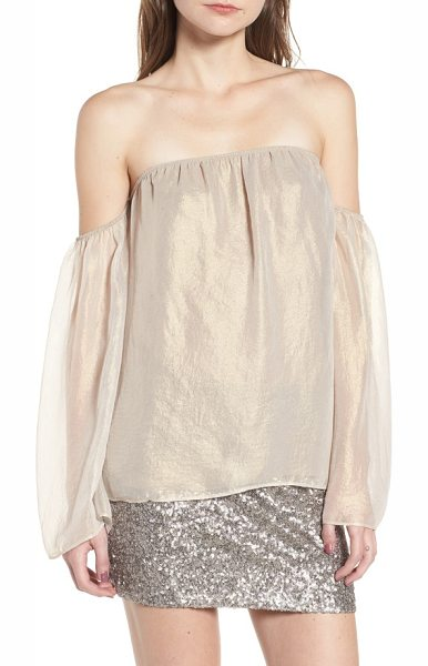 Bailey 44 outtake off the shoulder blouse in gold - An iridescent sheen gives this floaty chiffon blouse an...