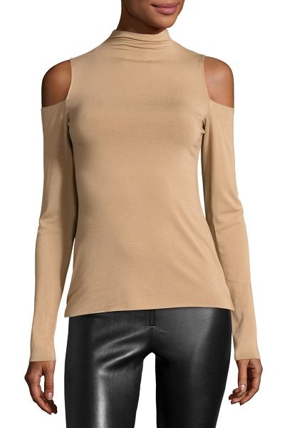 "Bailey 44 Vincent Cold-Shoulder Top in camel - Bailey 44 ""Vincent"" stretch-knit top. Mock neckline...."