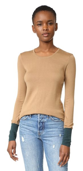 Bailey 44 highly selective sweater in camel/evergreen - Colorblocked cuffs lend a pop of color to this soft...