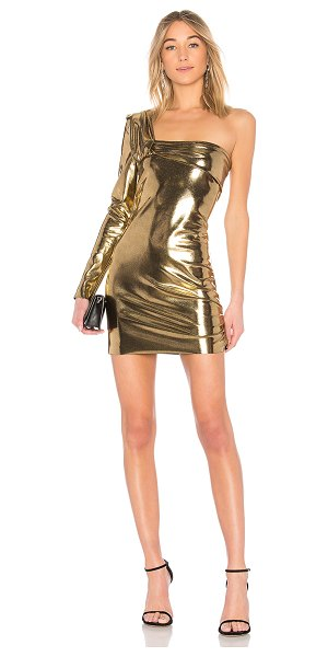 Baja East Contour Mini Dress in metallic gold - Never one to play by the rules. Shaped by a form fitting...