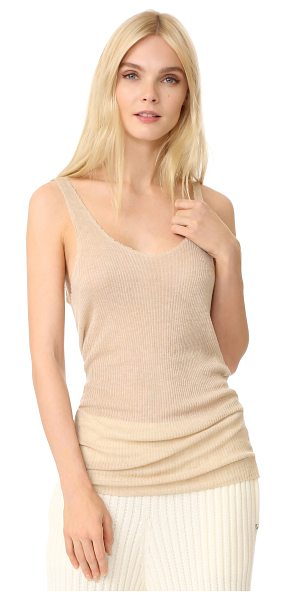 Baja East sleeveless tank in sand - This wispy Baja East top is cut from a fine cashmere...