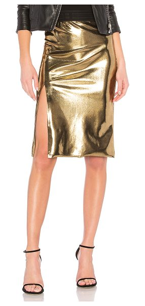 "Baja East Slit Skirt in metallic gold - ""Go for gold this holiday season with the Baja East Slit..."