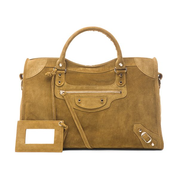 Balenciaga Baby daim classic city in neutrals - Calfskin suede with fabric lining and pale gold-tone...