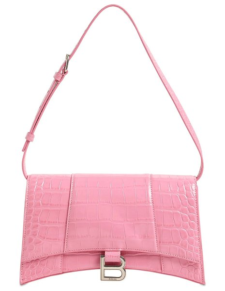 Balenciaga Baguette croc embossed leather bag in pink