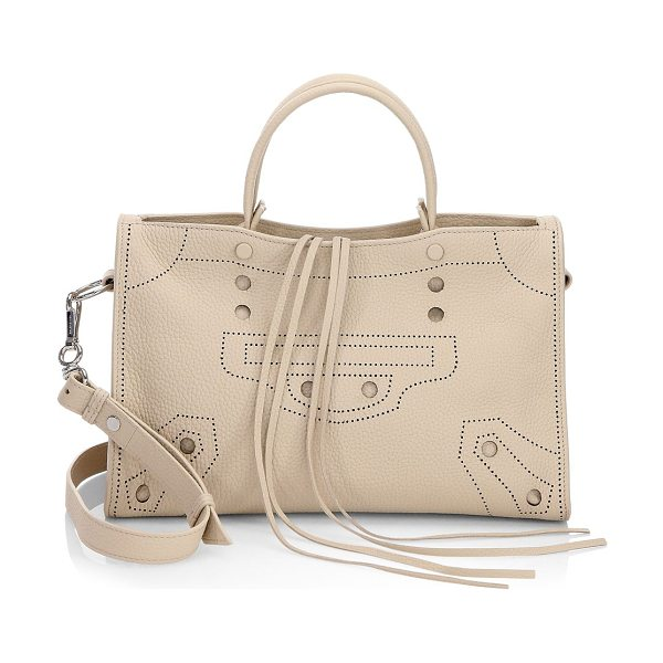 Balenciaga blackout city leather handbag in beige - Features crafted dot-perforated in a motif detail....