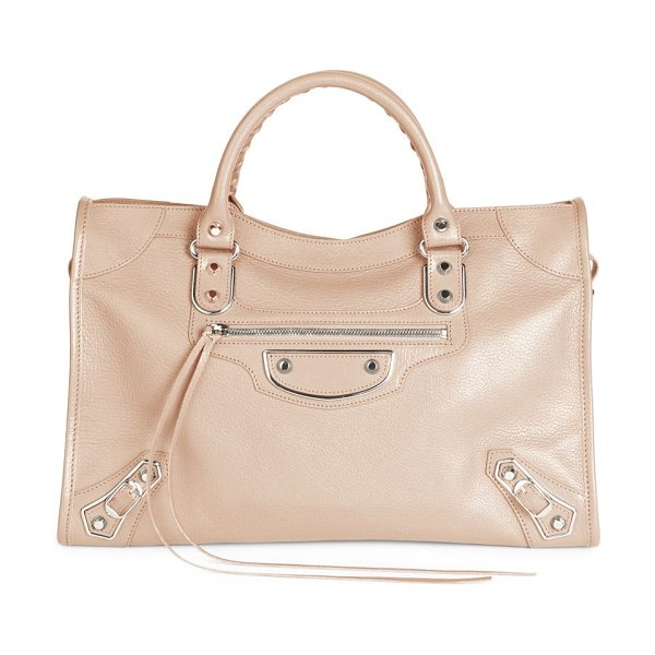 Balenciaga small city leather satchel in rose