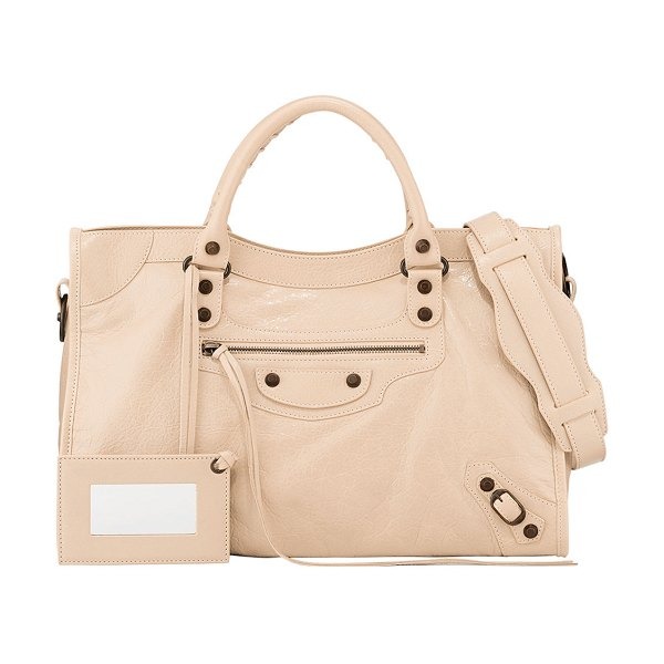 Balenciaga Classic Arena City Satchel Bag with Logo Strap in beige