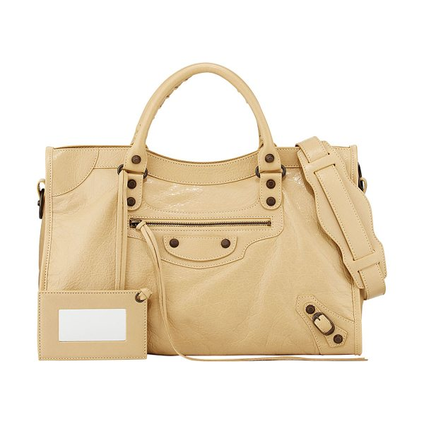 Balenciaga Classic City Bag in beige - Beige soft lambskin with aged brass hardware, including...