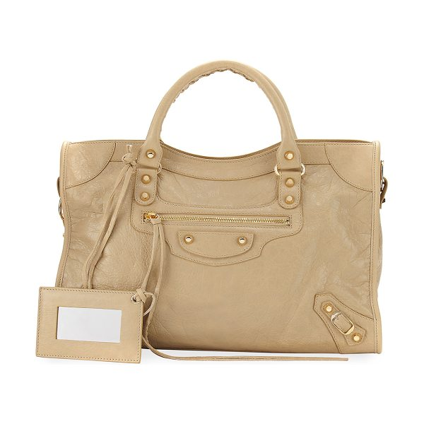 "Balenciaga Classic City Golden Lambskin Tote Bag in beige sable - Balenciaga ""Classic City"" arena leather bag in crinkled..."