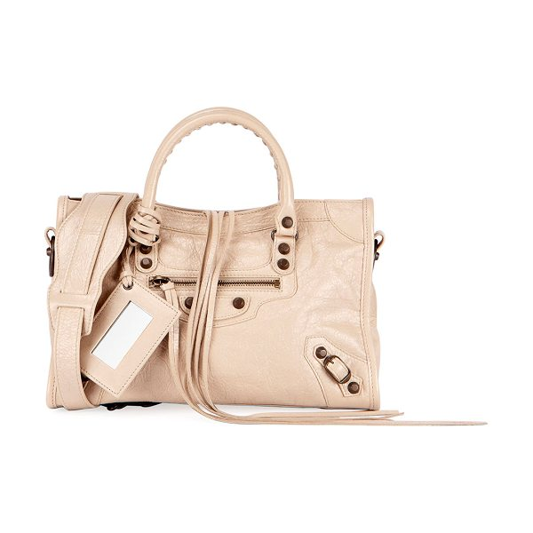 Balenciaga Classic City Small AJ Satchel Bag in beige - Balenciaga Classic City lambskin bag with signature...