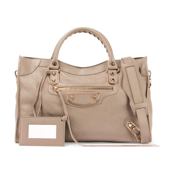 Balenciaga Classic Metallic Edge City Bag in beige - Balenciaga metallic edge city grained goatskin bag with...