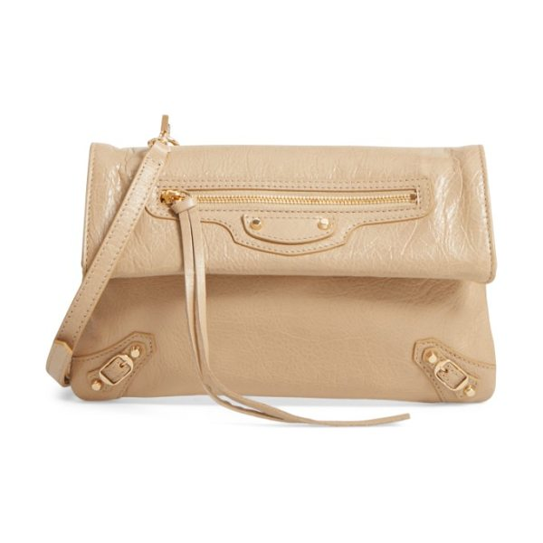 BALENCIAGA classic mini envelope leather crossbody bag - Glossy, crackled-lambskin leather adds couture shine to...