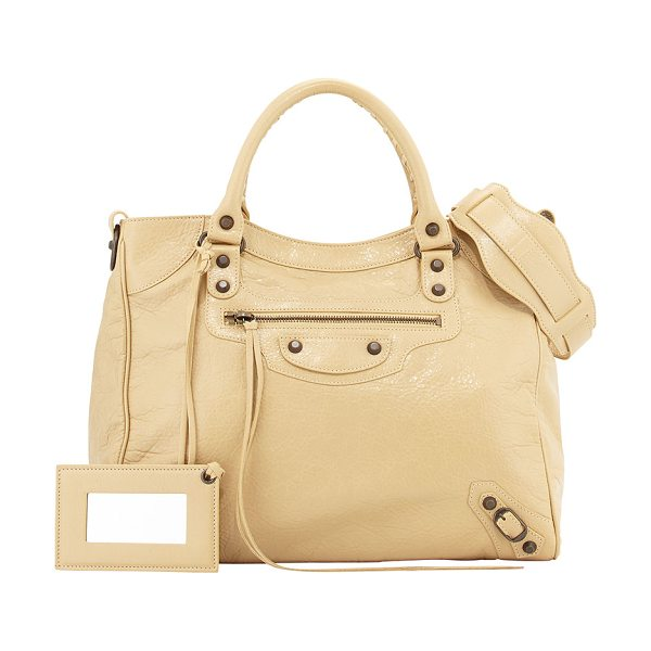 Balenciaga Classic velo bag in beige - Beige soft lambskin with aged brass hardware, including...