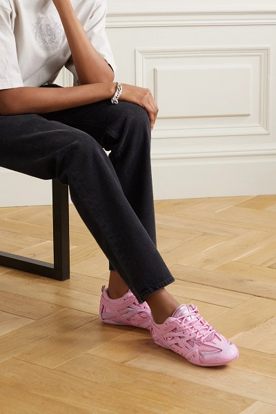 Balenciaga drive leather, rubber and mesh sneakers in pink