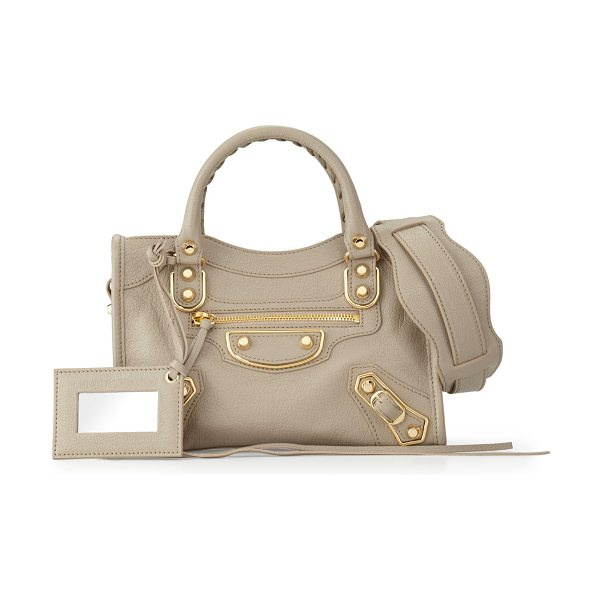 Balenciaga Edge City Mini Goatskin Satchel Bag in taupe - Balenciaga pebbled leather mini satchel bag. Metal-edged...