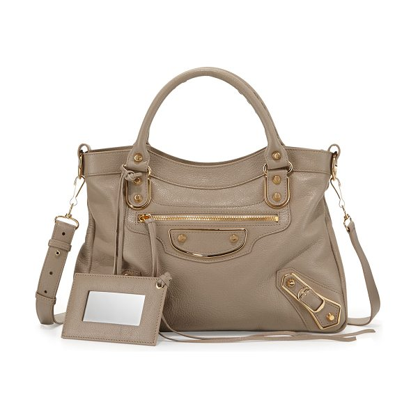 BALENCIAGA Edge Town AJ Goatskin Satchel Bag - Balenciaga Edge Town pebbled leather tote bag, featuring...