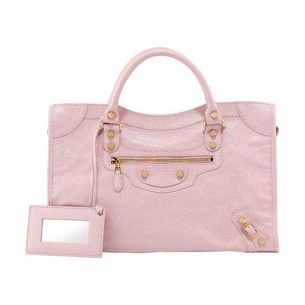 Balenciaga Giant 12 golden city bag in rose -  Rose soft lambskin with yellow golden hardware,...