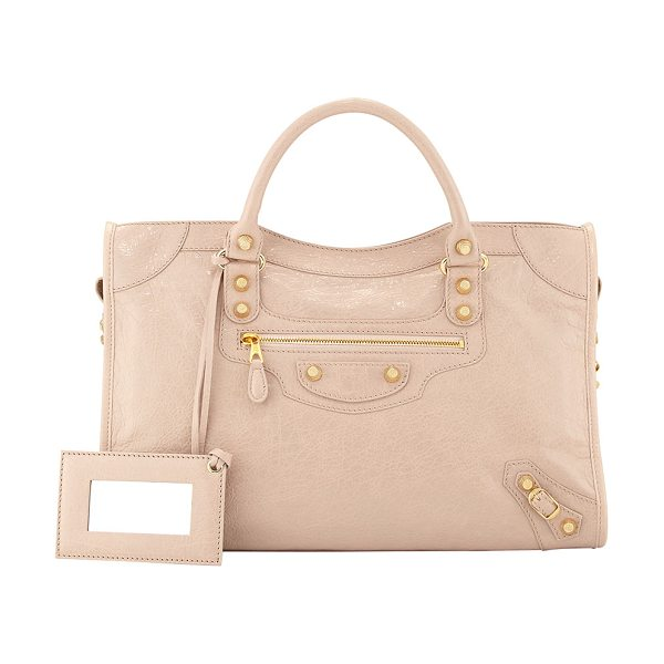 Balenciaga Giant 12 golden city bag in blush - Blush lambskin with yellow golden hardware, including...