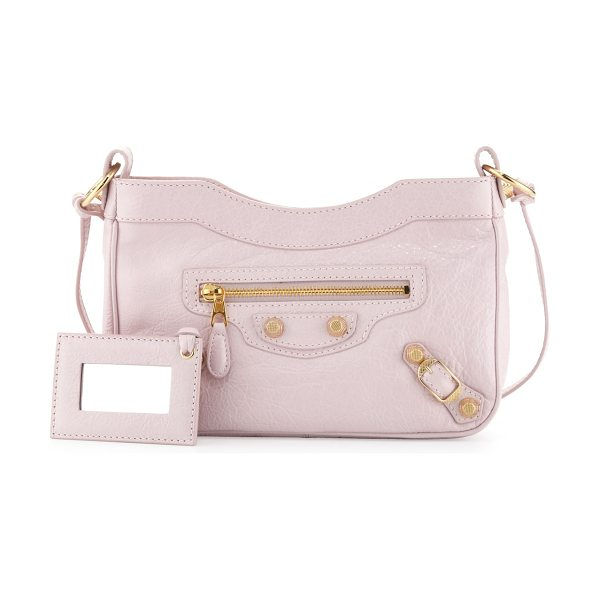 Balenciaga Giant 12 golden hip crossbody bag in rose -  Rose lambskin with golden hardware, including stud and...
