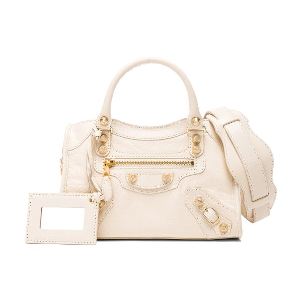 BALENCIAGA Giant 12 mini city aj in neutrals - Shiny lambskin leather with fabric lining and gold-tone...