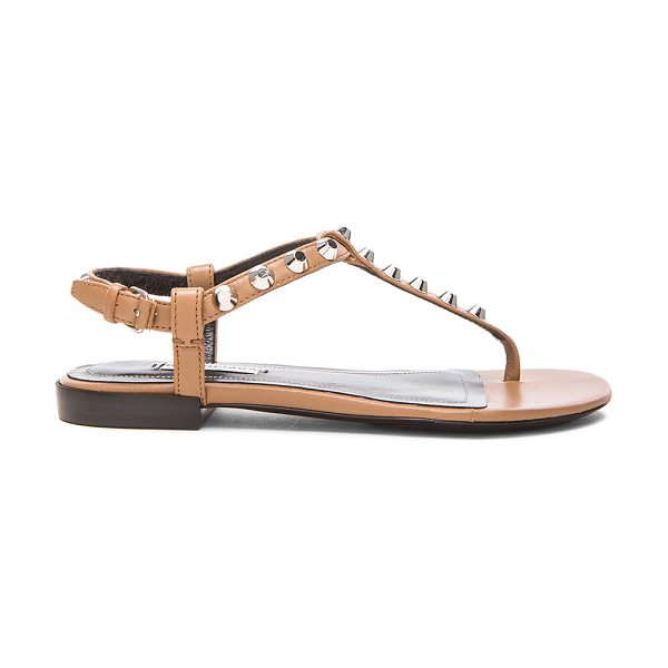 Balenciaga Giant stud t strap leather sandals in neutrals - Leather upper and sole.  Made in Italy.  Ankle strap...