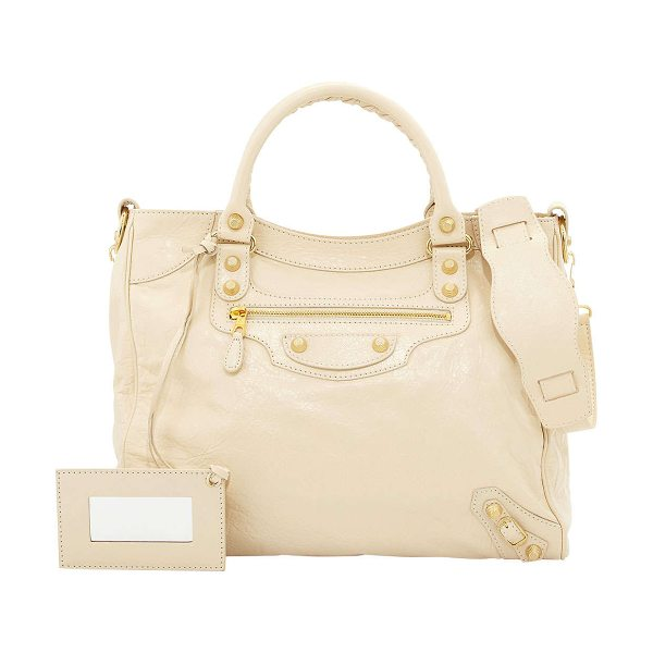 "Balenciaga Giant velo crossbody bag in beige oryx - Balenciaga ""Velo"" bag in soft lambskin leather...."