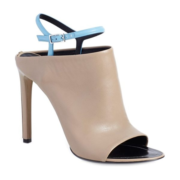 Balenciaga glove bicolor leather open toe sandal in camel/ blue leather