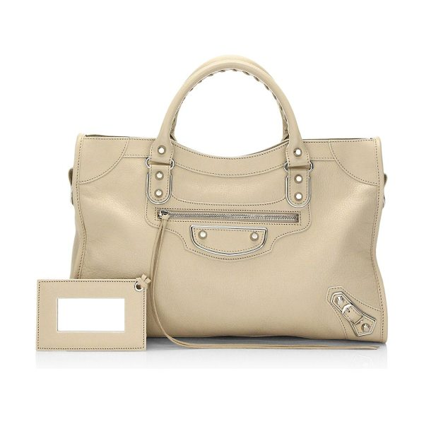 BALENCIAGA medium city metallic edge leather satchel - Leather tote accented with hemming design. Top handle,...