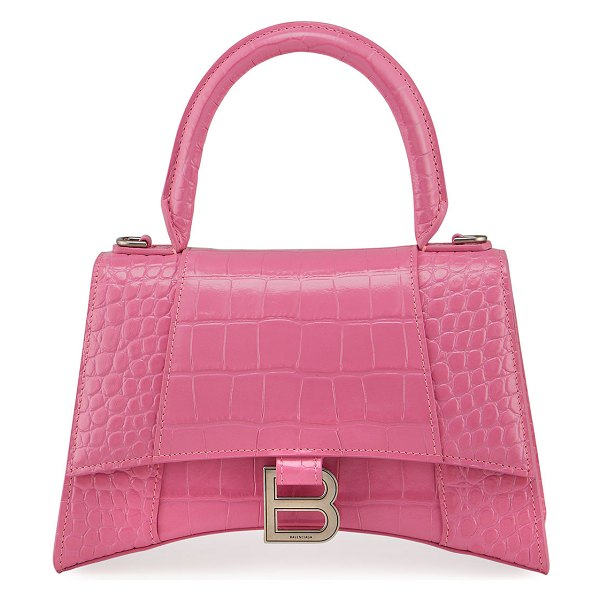 Balenciaga Hour Small Shiny Croc-Embossed Top-Handle Bag in pink