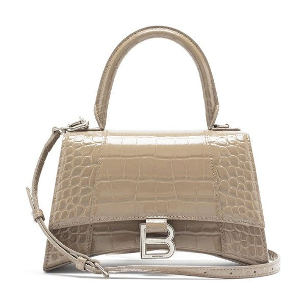 Balenciaga hourglass small crocodile-effect leather bag in beige