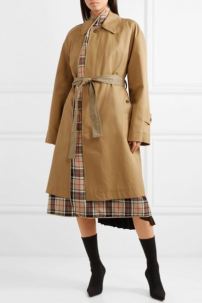 Balenciaga layered cotton-gabardine and checked wool trench coat in sand