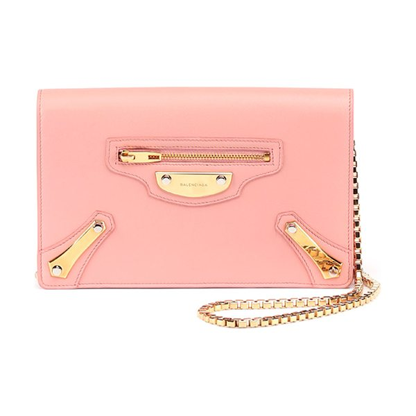 Balenciaga Leather chain wallet in rose - Balenciaga chain wallet in smooth calfskin leather with...