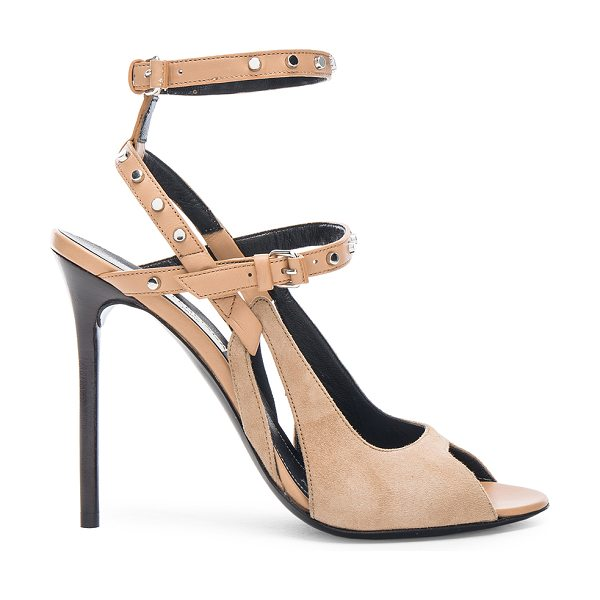 Balenciaga Leather & Suede Strappy Heels in neutrals - Leather and suede upper with leather sole.  Made in...
