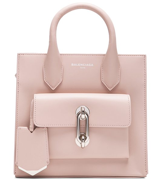 Balenciaga Maillon mini all in neutrals - Calfskin leather with grosgrain lining and silver-tone...
