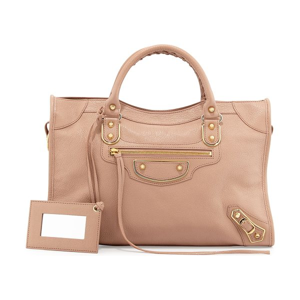 Balenciaga Metallic Edge City Bag in rose - Balenciaga grained goatskin bag with metal-edged golden...