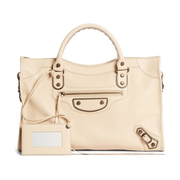 Balenciaga classic metallic edge city leather tote in beige tapioca - Made from beautifully grained leather in a creamy hue,...