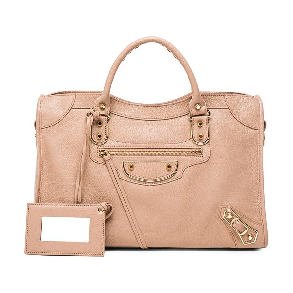 Balenciaga Metallic Edge City in neutrals,pink - Goatskin leather with canvas lining and gold-tone...