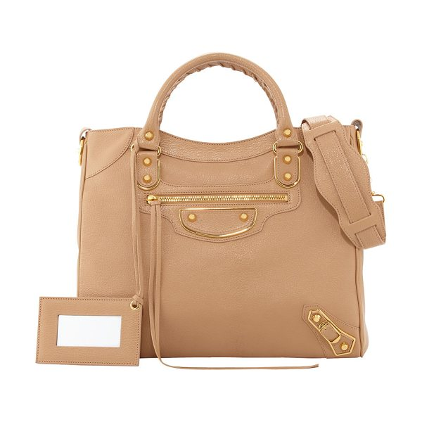 Balenciaga Metallic edge classic velo bag in beige - Beige soft goatskin with yellow golden hardware,...