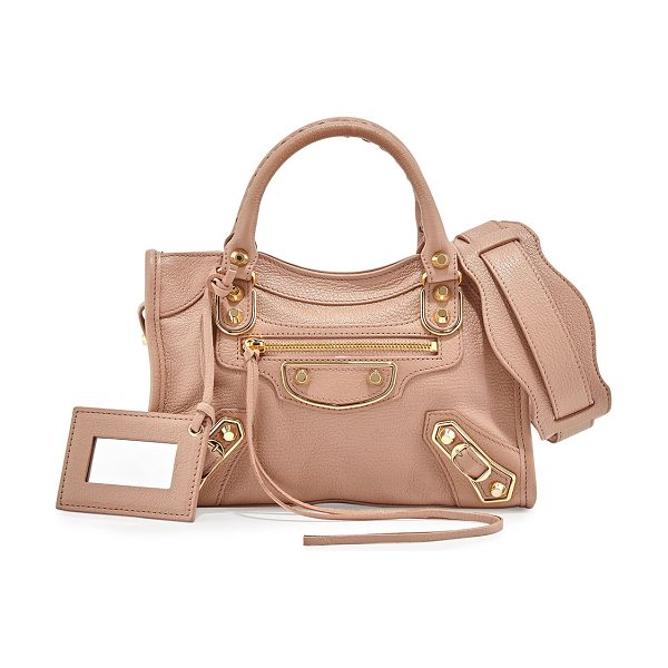 Balenciaga Metallic Edge Mini City AJ Satchel Bag in rose - Balenciaga grained goatskin bag with metal-edged golden...