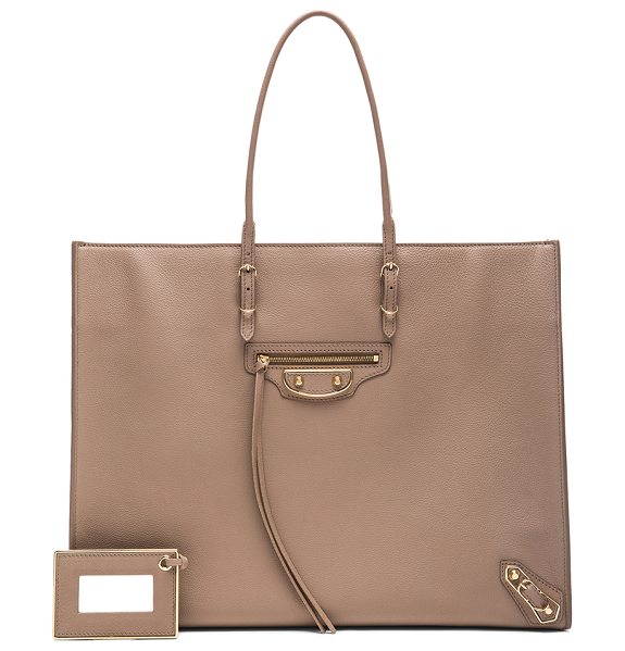 Balenciaga Metallic edge papier a4 in neutrals - Calfskin leather with leather lining and pale gold-tone...