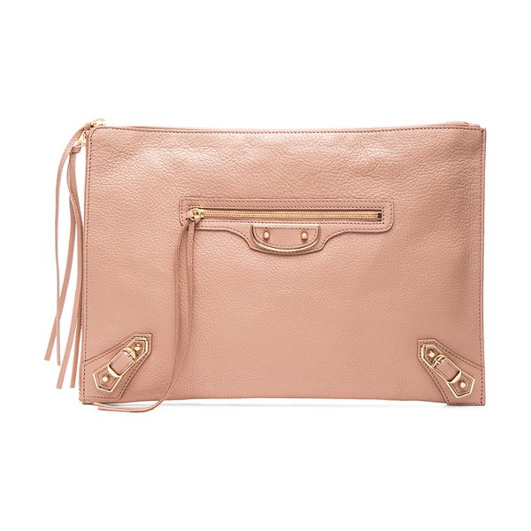 Balenciaga Metallic edge pouch in neutrals,pink - Calfskin leather with canvas lining and gold-tone...