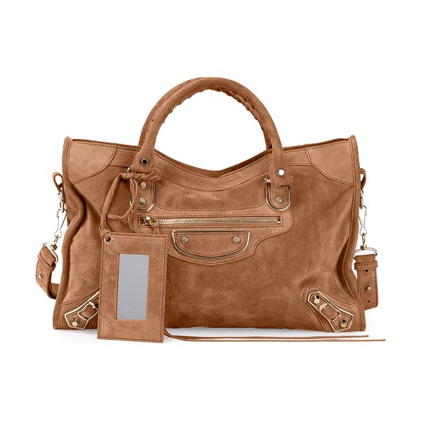 "Balenciaga Metallic edge suede city bag in tan - Balenciaga ""City"" bag in suede with metal-edged..."