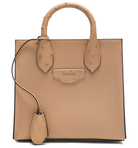 BALENCIAGA Nude mini all - Calfskin leather with fabric lining and silver-tone...
