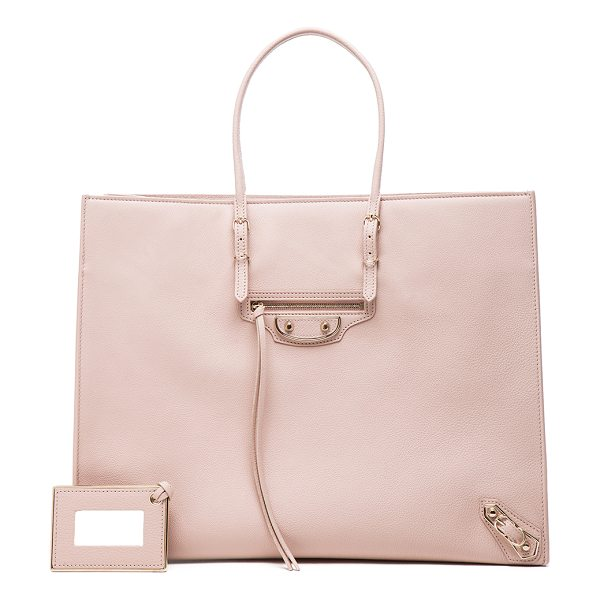 Balenciaga Papier A4 Tote in neutrals - Calfskin leather with leather lining and pale gold-tone...