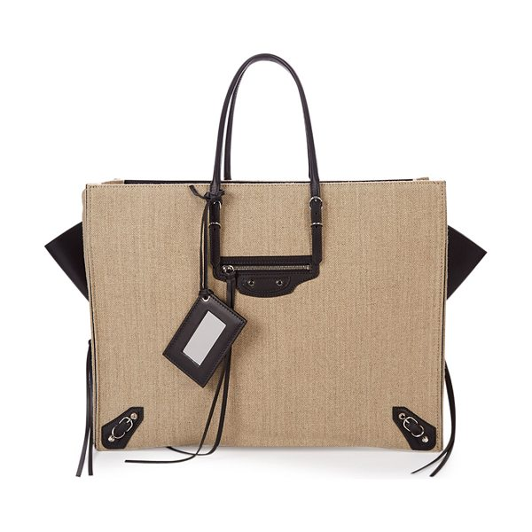 Balenciaga Papier a4 zip-around linen tote bag in beige/black -  Balenciaga linen and calfskin A4 tote with palladium...