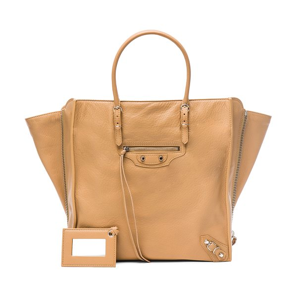 Balenciaga Papier Zip Around A5 in neutrals - Calfskin leather with suede lining and silver-tone...