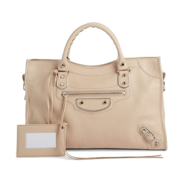 Balenciaga small classic metallic edge city leather tote in beige tapioca - Made from richly textured goatskin leather, this version...