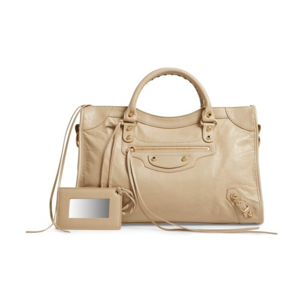 Balenciaga classic city bag in 2616 beige sable - A stylish glazed-lambskin crossbody is fashioned with a...